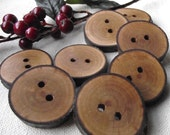 Cherry Wood Buttons - 8 Wooden Tree Branch Buttons with Bark - 1 3/8 to 1 1/4 inches, 2 holes, For Journals, Pillows, Handbags, Knitting