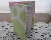 Passport Cover Holder - Pink Lime Green white Polka Dots Ready to Ship