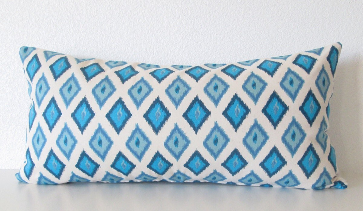 Blue Lumbar Throw Pillow : Ikat blue decorative lumbar pillow 12x24 by vintagechicdecor