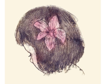 Print, Art Print, Wall Decor, Illustration, Illustration Print, Nursery Art, Girl Drawing, Ink Drawing, Sepia, Monotype, orchid, pink flower
