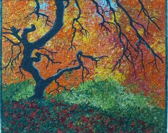 Autumn Tree Original Fiber Art by Lenore Crawford