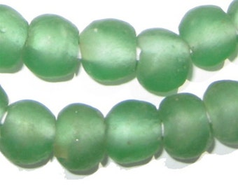 40 Light Green Recycled Glass Beads 14mm - African Glass Beads - Jewelry Making Supplies - Made in Ghana ** (RCY-RND-GRN-514)