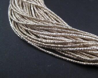 Ethiopia White Tiny Heishi Beads - African Metal Beads - Silver Heishi Beads - Wholesale Beads - Made in Ethiopia (MET-HSHI-SLV-210)