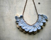 crochet necklace for woman in light blue and white wool , Yarn jewelry, crocheted jewerly