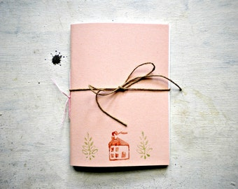 little pink journal sketchbook , hand  Stitched, travel Journal with house and plant  linocut - back to school -