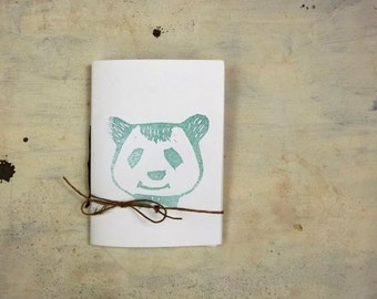 panda travel journal hand  Stitched  blank  notebook  with blue panda bear linocut -