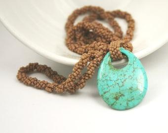 Turquoise Pendant Necklace . Beadweaving Necklace . Long Layering Necklace . Beadweaving Rope Stitch . Turquoise Stone Jewelry