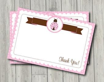Ladybug Thank You Note - Pink & Brown Ladybug Thank You Card - Digital Printable Thank You