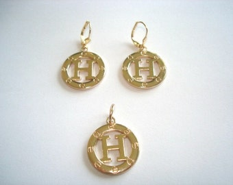 H Pendant  Earrings Dangle Gold Tone