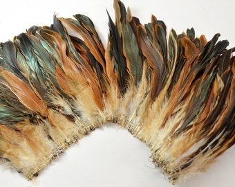 """25-30pcs Half Bronze Rooster Tail Feathers-Brown, 6-8"""" tall"""