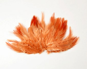 Rooster Saddle Feathers - Persimmon, 2 inch strip (50-60pcs)
