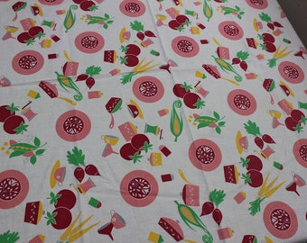 """Tablecloth Bold colors 33"""" square Vegatables Mid century  Pink Garden Vegi Kitchen kitsch VINTAGE by Plantdreaming"""
