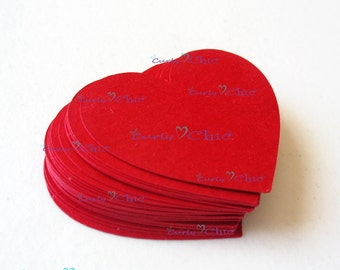 "60 Hearts Tags Size 2"" -Hearts die cuts -Paper Hearts tags -Cardstock Hearts die cuts -Paper Hearts labels -Paper tags"