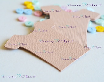 "52 Baby Shirt Tags Size 2"" -Baby Shirt tags -Paper Baby shirt die cuts -Cardstock Baby shower die cuts -Custom Bodysuit labels"