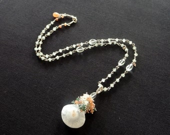 Solar Quartz Necklace Long Gemstone Necklace with Prehnite, Prasiolite, Moonstone, Sage and Peach Necklace