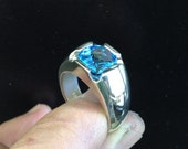Mens Stunning Antique Cushion Checkerboard Cut Swiss Blue Topaz Ring in Solid Sterling Silver