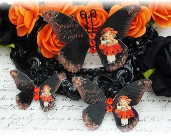 Spooky Night Butterfly Embellishments for Scrapbooking or Cardmaking, Tag Art,  Mixed Media, Mini Albums