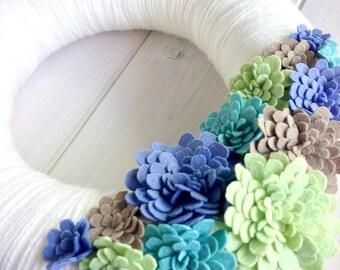 Yarn Wreath Felt Handmade Door Decoration -  Cool Bloom 12in