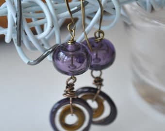 Purple Earrings, Hollow Glass, Disc Dangle Earrings, Lampwork Glass Earrings, Dangle Earrings, Artisan Glass,