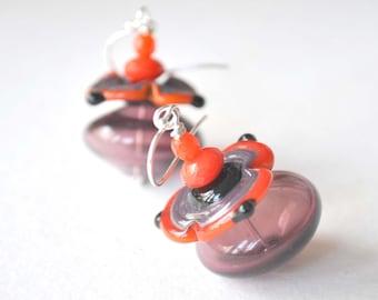 Purple Earrings,  Flower Earrings, Lampwork Jewelry, Glass Earrings