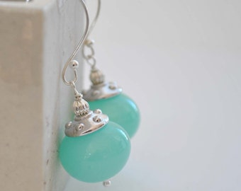 Mint Blue Earrings, Hollow Blown Glass, Lampwork Earrings, Long Dangle Earrings