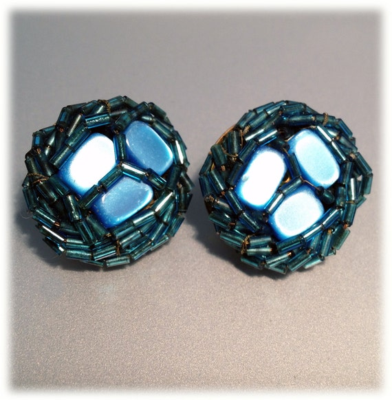 SALE Vintage 1940s Pearlescent  Blue Beaded Clip Earrings from Japan