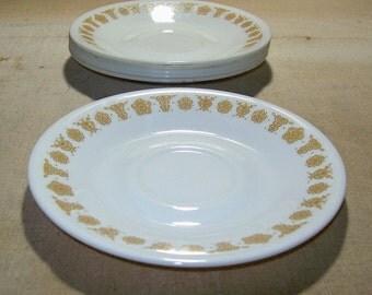 Vintage Corelle Butterfly Gold Saucers / 1970s Corning Livingware Butterfly Gold Saucers / Flower & Butterfly Design/ You Choose Quantity!