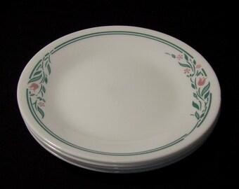 Set of 8 Corelle Rosemarie Bread & Butter Plates / Corelle by Corning Small Plates Set of 8 / Corelle Mauve Tulips Green Leaves on White