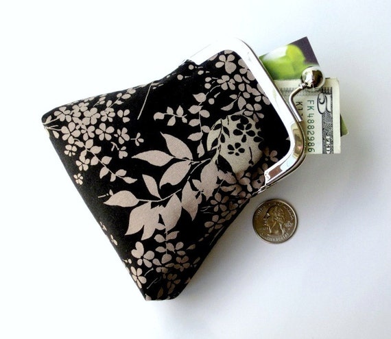 CLEARANCE SALE 50% OFF...Japanese Cherry Blossom black taupe floral purse...large cash credit card jewelry Rx purse...vegan cotton fabrics