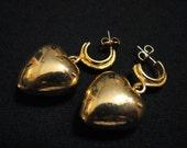 Vintage Gold Tone Charmed Heart Hoop Dangle Pierced Earrings
