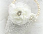 Flower Girl Basket, Ivory, Cream, White, Elegant Wedding, Pearl Handle, Crystals, Pearls, Lace, Vintage Style, Gatsby Wedding, Bucket