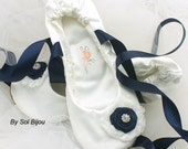 Ballet Flats, Ivory, Navy Blue, Shoes, Wedding, Bridal, Flats, Lace Up, Flower Girl, Ballerina Slippers, Satin, Crystals, Vintage, Elegant