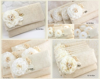 Bridesmaids Clutches, Ivory, Cream, Lace, Linen, Handbags, Bags, Shabby Chic, Bridal, Rustic, Pearls, Vintage Style, Elegant Wedding