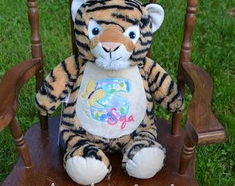 Tiger Cat kitty Birth Announcement Baby Keepsake Plush Stuffed Animal Cubbie Personalized