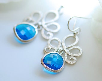 Peacock blue glass earrings in silver, Blue bridal earrings, Something blue, Blue earrings, Bridesmaids earrings