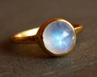 June Birthstone Ring - Rainbow Moonstone Ring - Round - Stacking Ring