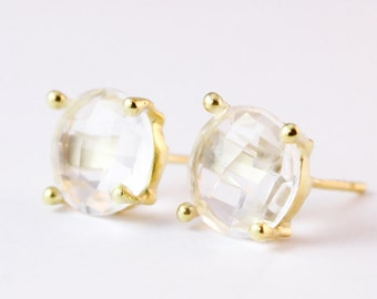Crystal Quartz Earrings - Round Crystal Studs - Gold/Silver, Bridal Earrings