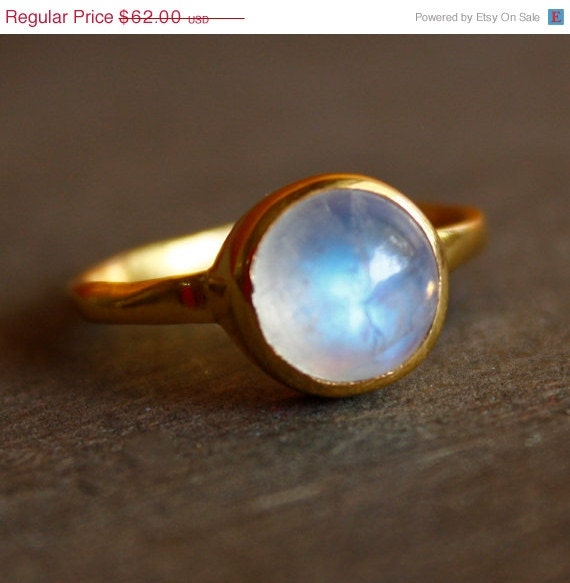 June Birthstone Ring - Rainbow Moonstone Ring - Round - Stacking Ring