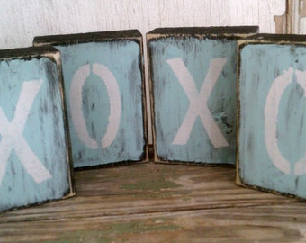 XOXO Block Wood Letters - Distressed Custom Letters for Baby Name, Family Name, Bride and Groom