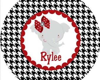 Personalized Melamine Plate--Elephant and Houndstooth Girl