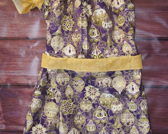 Purple & Gold Peasant Dress, Christmas dress, Ready TO Ship, Free shipping Sz 6/7/8