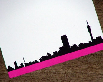 Johannesburg Skyline Personalized Stationery - Joburg South Africa Thank You Notes - Ponte Tower Flat Cards - Set of 10
