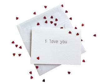 Confetti Love You letterpress card - single