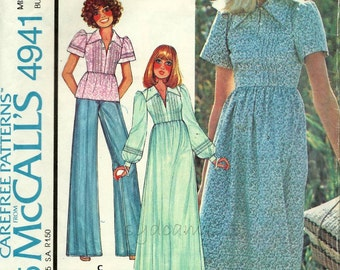 Vintage 1970s Pintucked Bodice Blouse or Dress Pattern  Knee Length or Maxidress Laura Ashley 1976 McCalls 4941 Bust 34 UNCUT