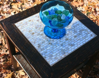 "End Table, Mosaic Centerpiece, ""Pearl Delight"", Reclaimed Wood, Dark Brown Finish - Handmade"