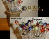 Glass Drink & Coffee Stir Swizzle Sticks Boro Lampwork Glass Choice of Set Color (Set of 8)