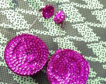 Magenta sequined earrings