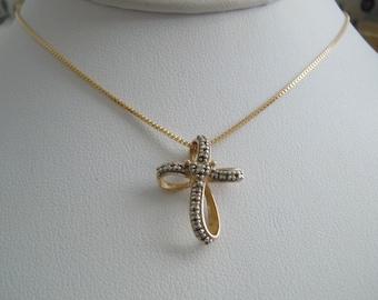 SALE Vintage Sterling Silver .925 Gold Plate Ribbon Cross 1.3g Pendant Necklace
