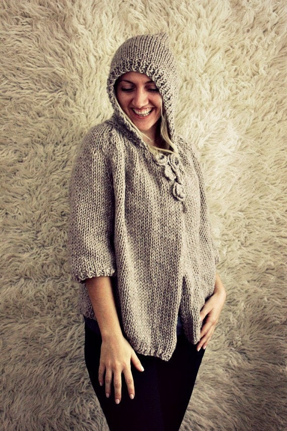 Plus Size Cardigan- Hooded Cardigan - Hand Knit Hooded Cardigan- Plus Size- Plus Size Sweater- Gift for Her- Womens Gift- Gift for Mom