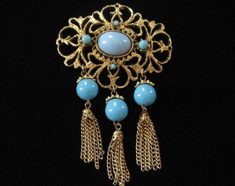 Victorian Revival Turquoise and Tassel Brooch